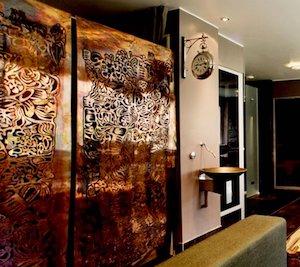 Hotellinredning restauranginredning rumsavdelareLaserskuret Skräddarsytt i metall WidalDesign