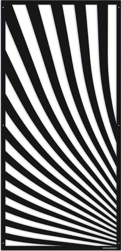 Insynsskydd Dekorskärm skärmvägg i metall Pergolatak laserskuret mönster Vågor WidalDesign
