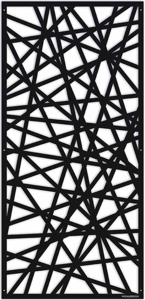 Insynsskydd Dekorskärm skärmvägg i metall Pergolatak laserskuret mönster Strålar WidalDesign