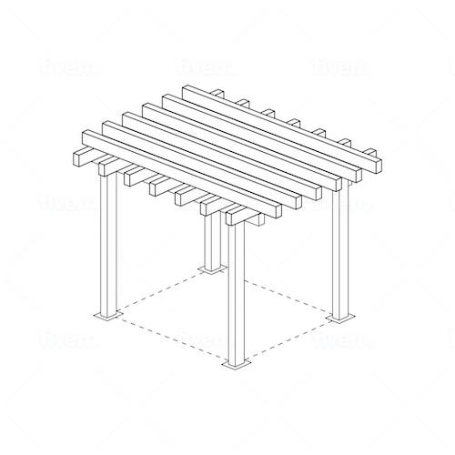 Skiss pergola pergolatak i metall storlek 6m x 6m 6x6 altantak pergolatak pergolapaneler i metallWidalDesign