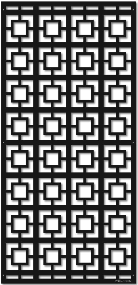 Insynsskydd Dekorskärm skärmvägg i metall Pergolatak laserskuret mönster Kuber WidalDesign